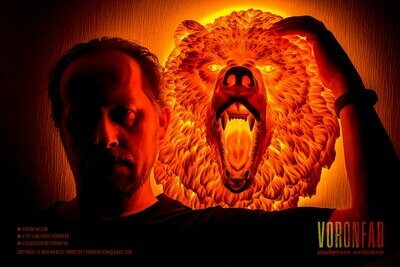 Angry Grizzly Bear Animal Head Wall Light Sculpture