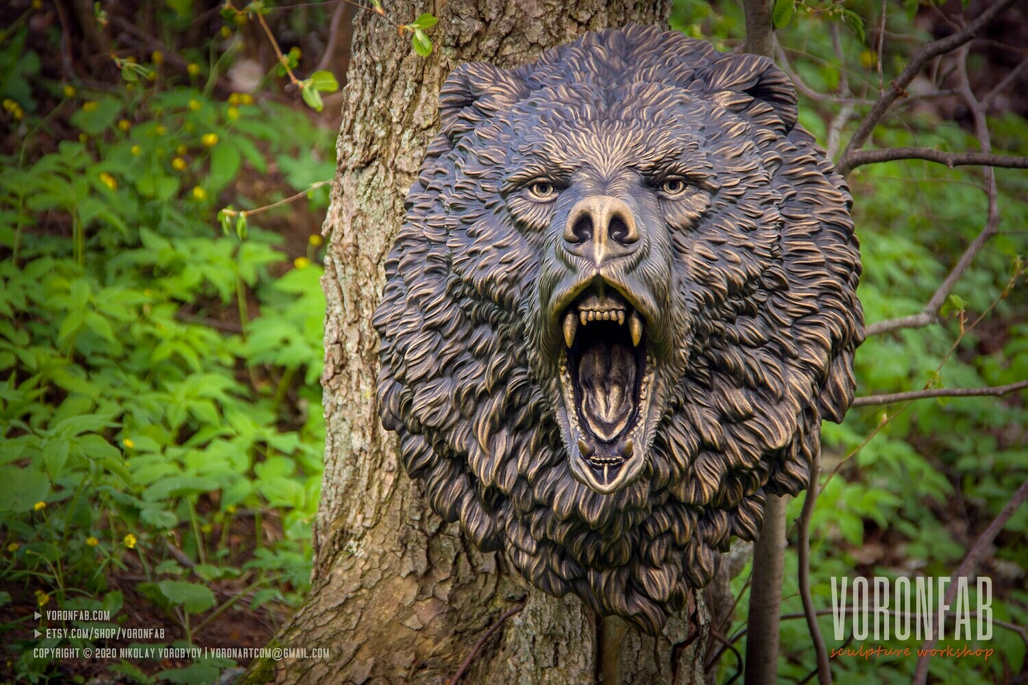 Roaring Bear Grizzly Wall Sculpture Animal Head