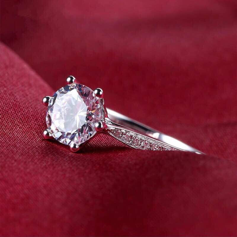 Six Prong Silver Solitaire Ring