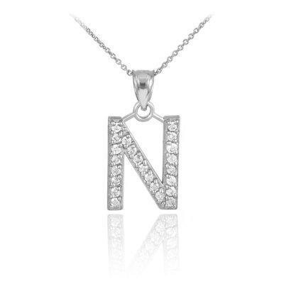 Gemstone Alphabet Necklace in Silver