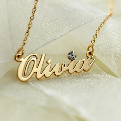 Gemstone Name Necklace in Yellow gold