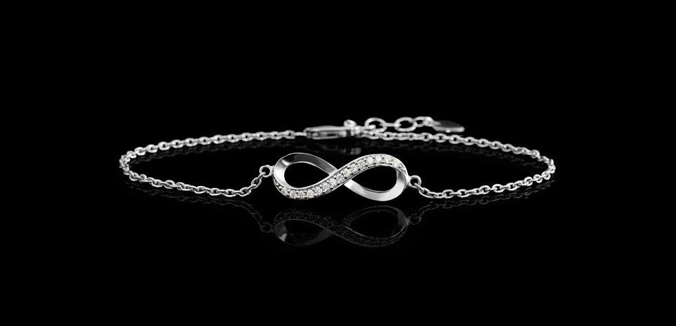 Sterling Silver Infinity CZ Bracelet