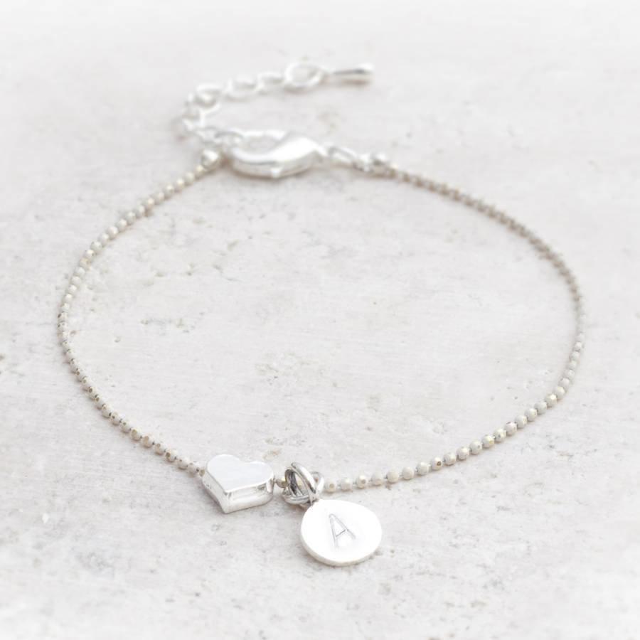 Sterling Silver Engravable Heart Bracelet