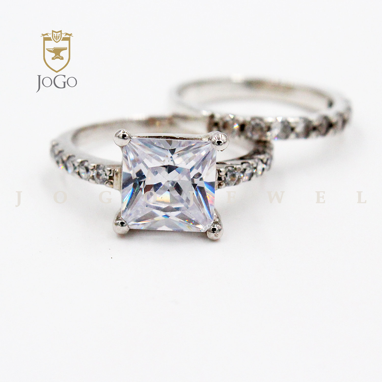 Princess Cut Engagement and Wedding Ring