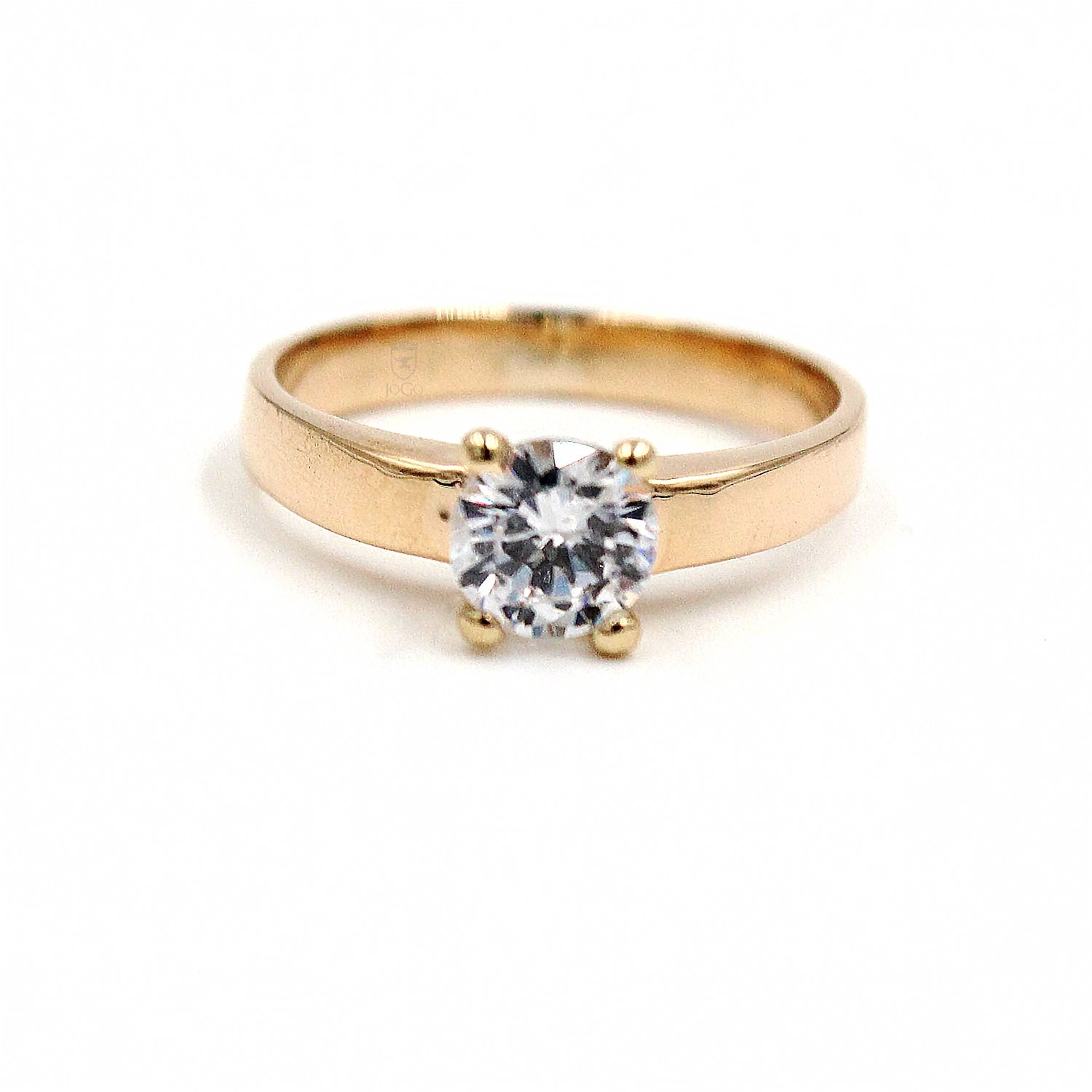 Petite Four Prong Solitaire Ring in 18K Yellow Gold