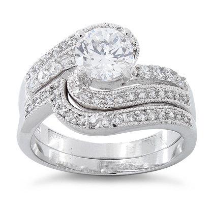 Twisting Bridal Set in 18 k White Gold