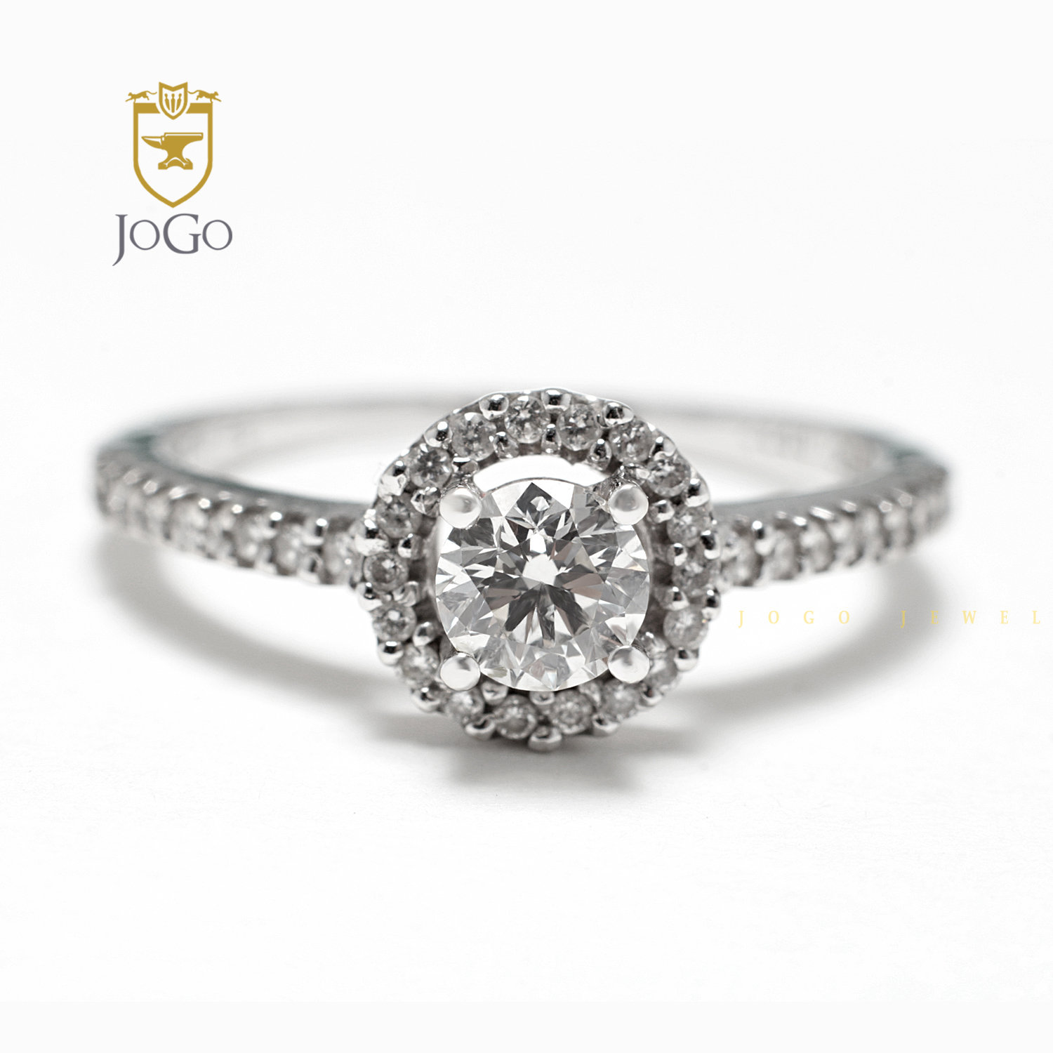 Round Halo Promise Ring in Sterling Silver