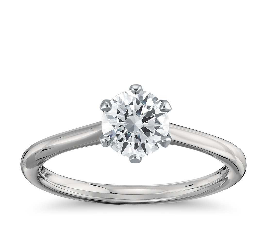 Six-Prong Solitaire Ring in 18 Karats White Gold