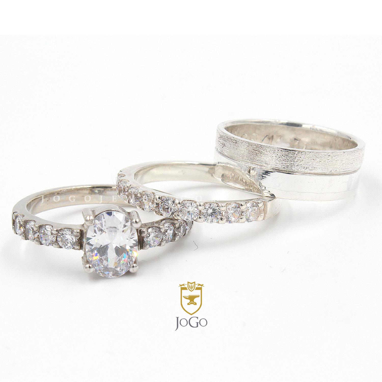 Engagement & Wedding Set in 18k White Gold