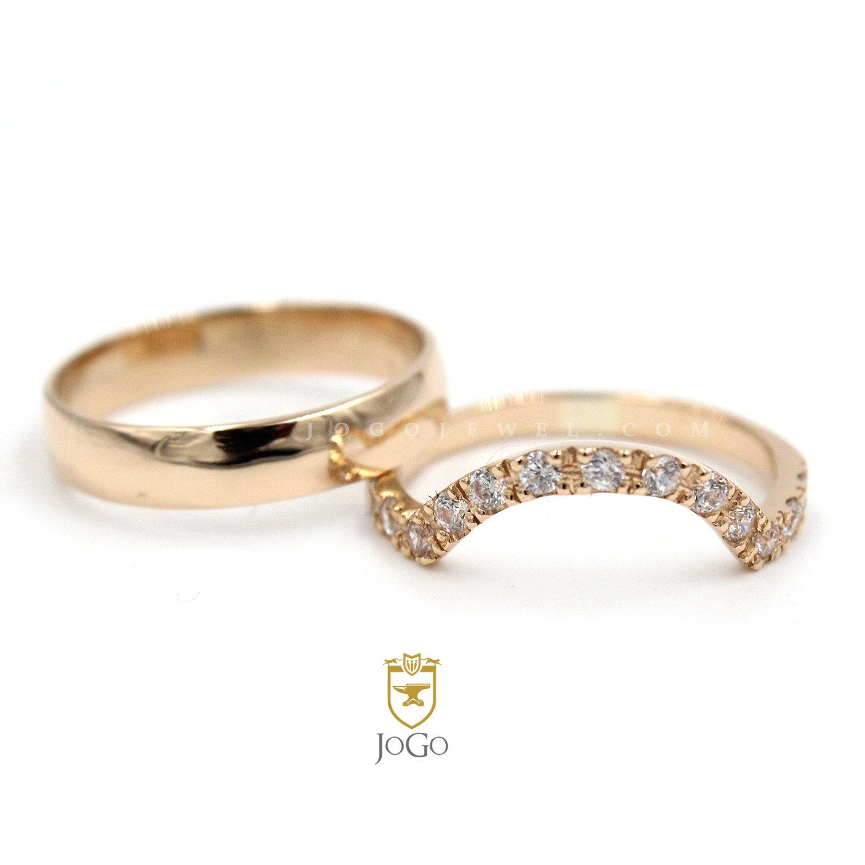 Wedding Ring Set in 18 K Yellow Gold