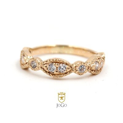 Milgrain Marquise and Dot Wedding Ring in 18 K Yellow Gold
