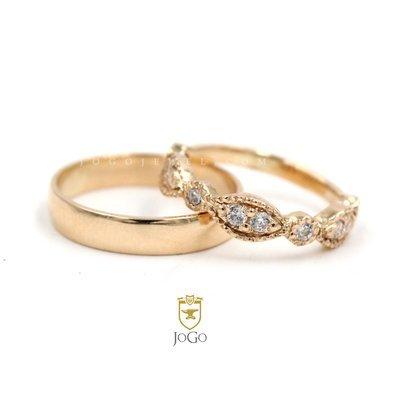 Wedding Ring 2-Set in 18 K Yellow Gold