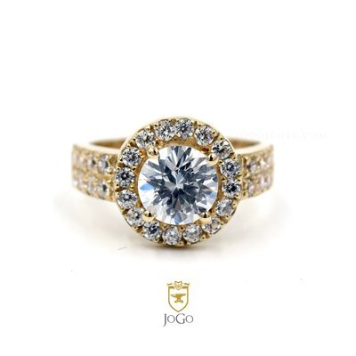 Double Shank Halo Engagement Ring in 18 k Yellow Gold