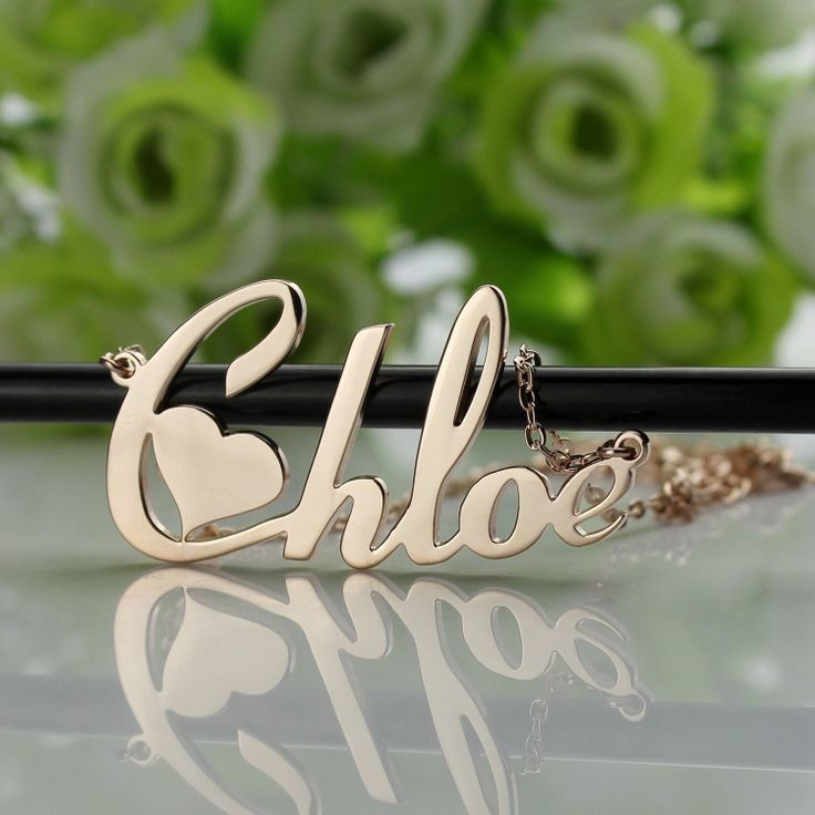 Heart Name Necklace in 14k yellow gold