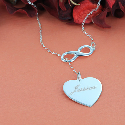 Engravable Heart & Infinity Necklace