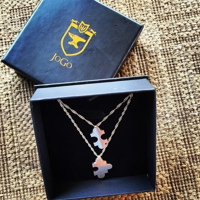His&hers Jigsaw puzzle necklace