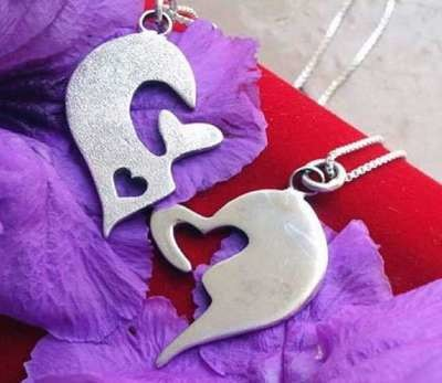His&Hers Jigsaw heart necklaces
