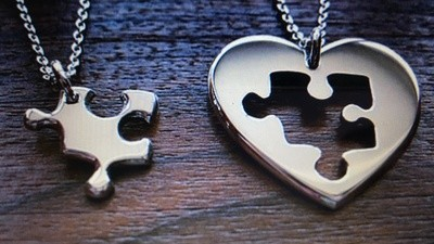 His&Hers Jigsaw heart and puzzle necklaces