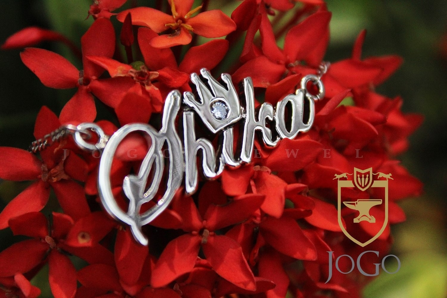 Silver Crown Name Necklace