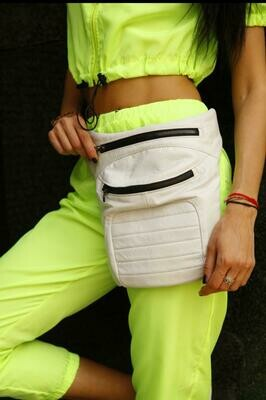 White Leather Legbag