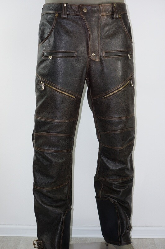 Brown Leather Moto Pants