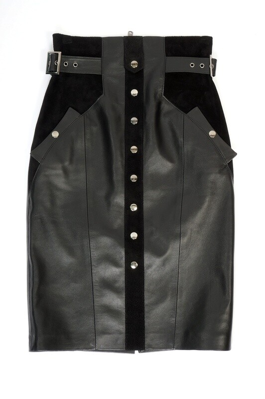 Leather midi pencil skirt at the waist