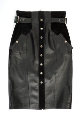 Leather midi pencil skirt at the waist