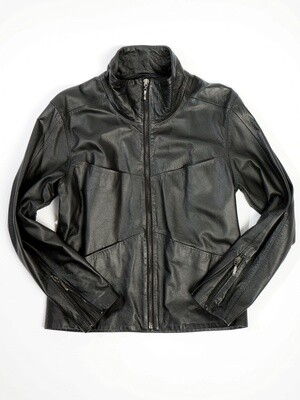 Black Leather Man Jacket Fout Pockets