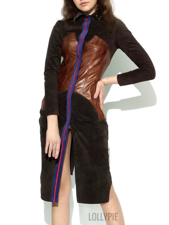 Natural Brown Suede Dress