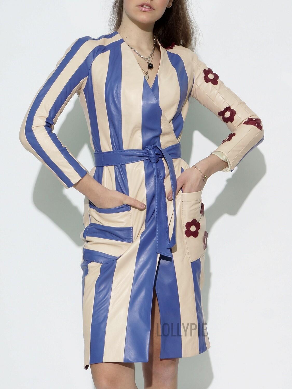 Genuine Leather Wrap Dress