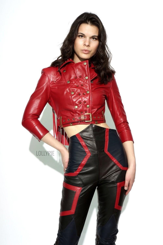 Jacket Leather Red Fringe