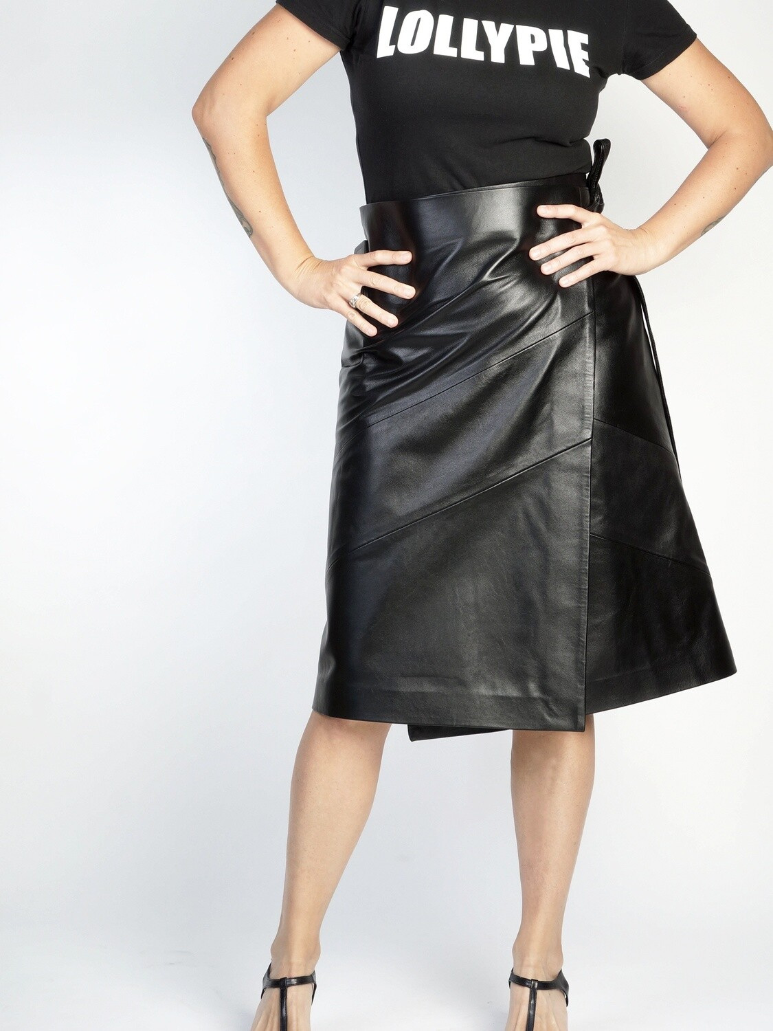 Leather skirt with a wrap below the knee