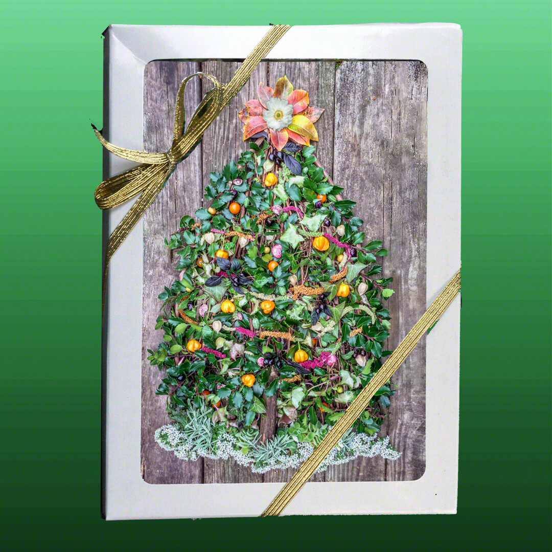 Greeting Cards: Vegetable Holiday Tree with Holly and Ivy