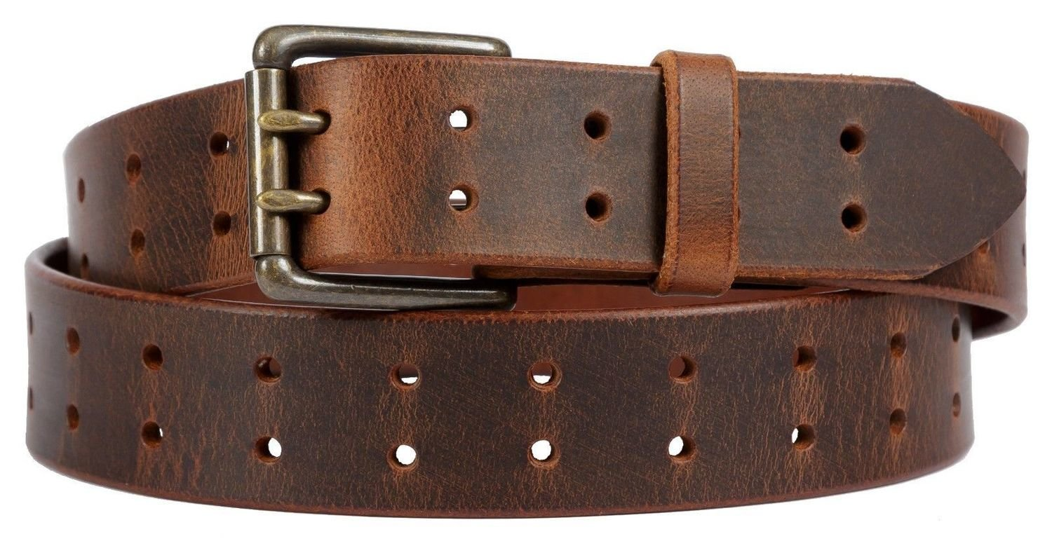 Double Prong Belt, Distressed Brown. 1.5 - 2 inch width.