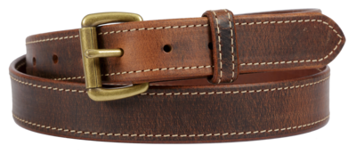 Distressed Leather Belt with Stitching