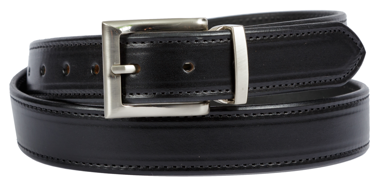 Bridle Leather Belt Stitched Dress Belt, Black