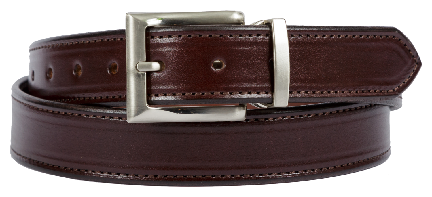 Bridle Leather Belt Stitched Dress Belt, Dark Brown