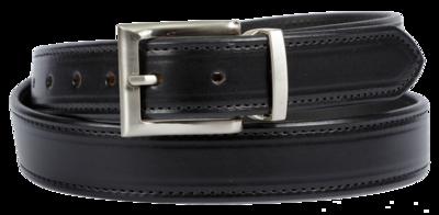 Bridle Leather Belt Stitched Dress Belt, Black