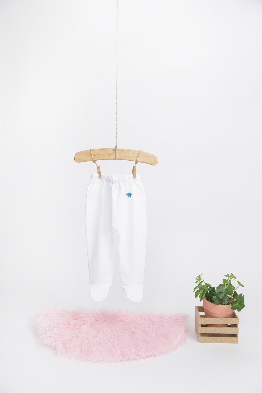 Pantalon Blanco con Hilo Rosa con Pie