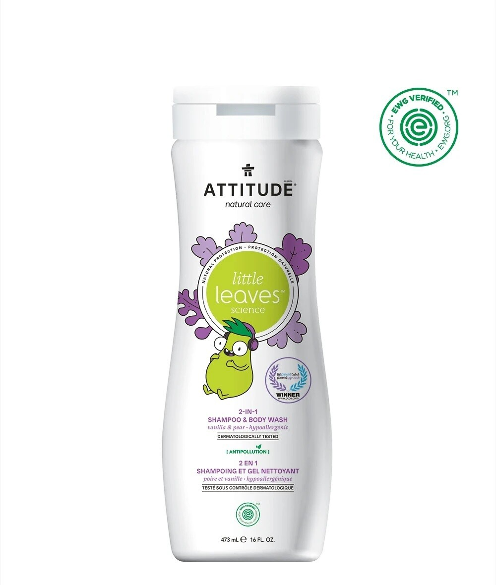 Shampoo y gel de baño natural de Vainilla y Pera (473 ml)