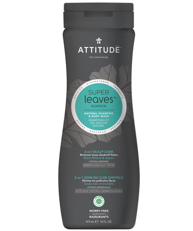 Shampoo Natural y Gel de baño Attitude - Anticaspa 473 ml
