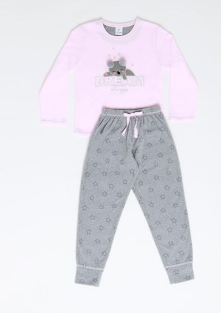 Pijama con Osito Rosado con Gris de Polar