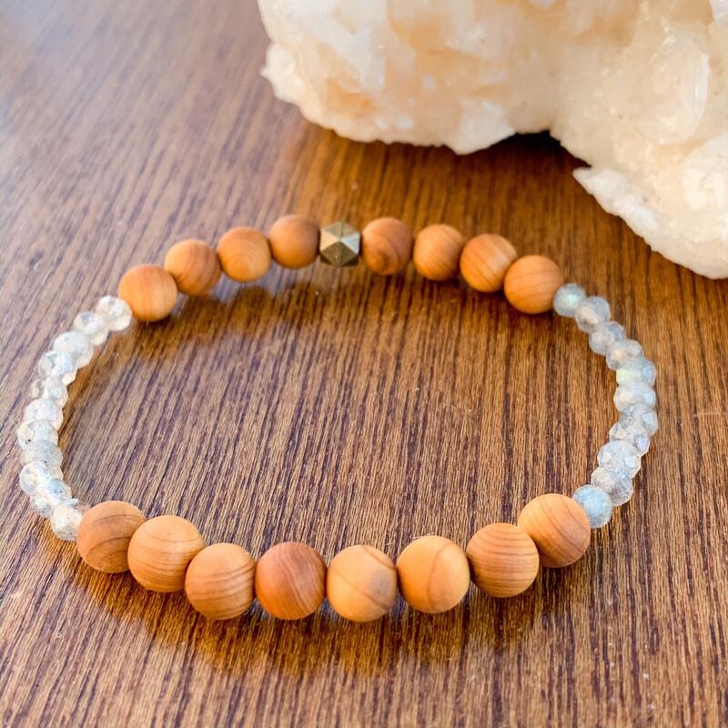 Labradorite + Cedar Wood Healing Crystal Bracelet