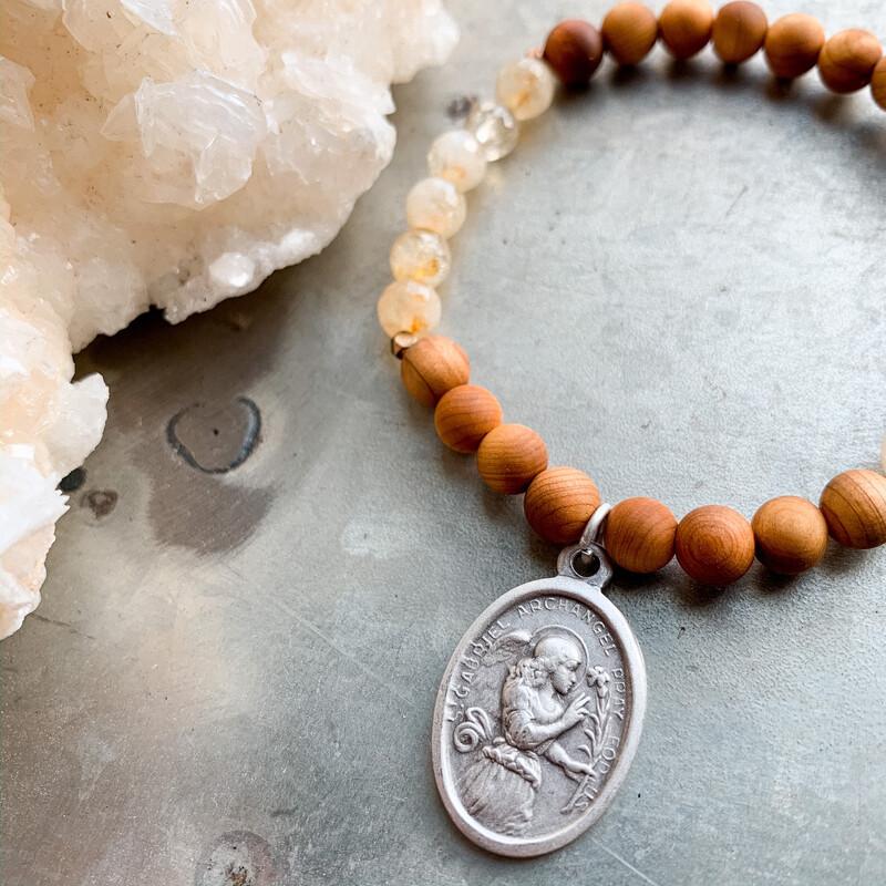 Archangel Gabriel Citrine + Cedar Wood Healing Bracelet