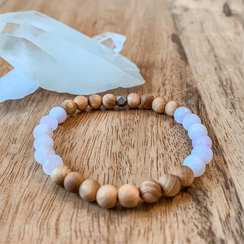 Kunzite + Cedar Wood Healing Stone Bracelet