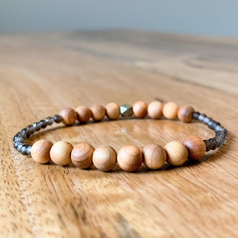 Smoky Quartz + Cedar Wood Healing Crystal Bracelet