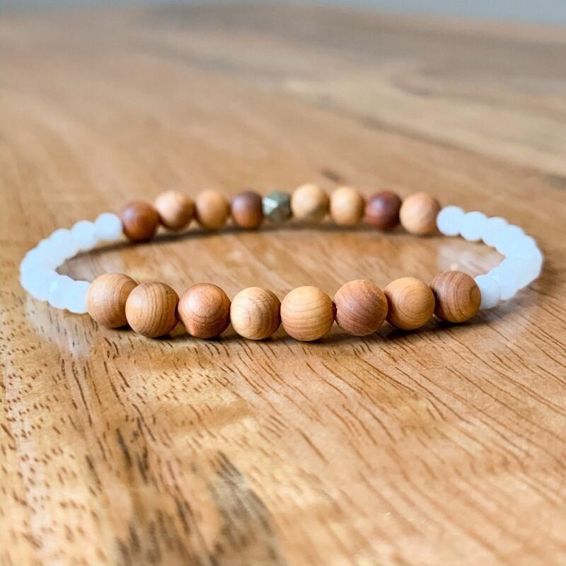 White Moonstone + Cedar Wood Healing Crystal Bracelet