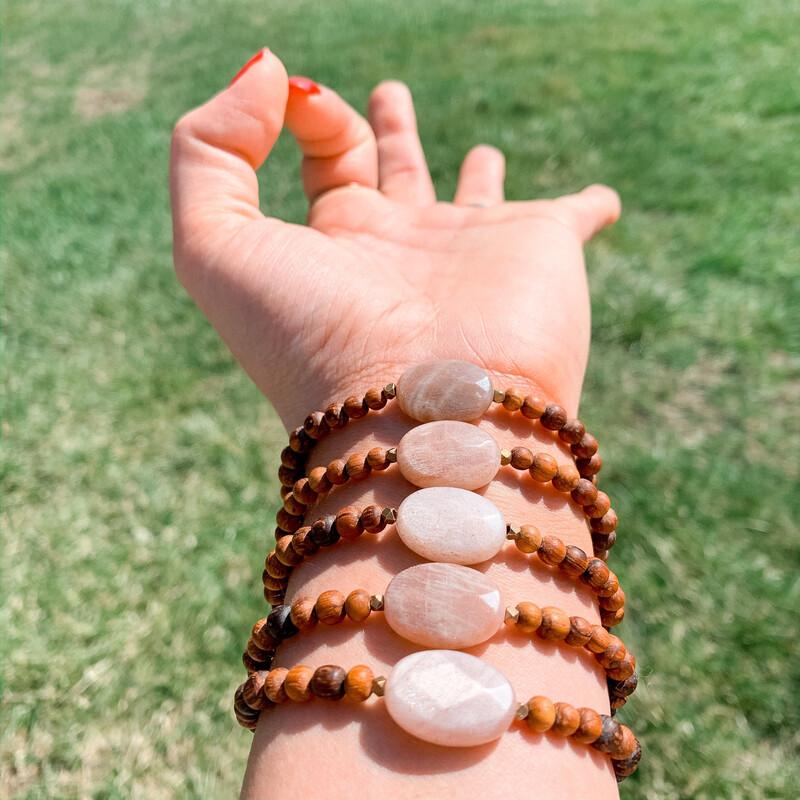 Sunstone + Bayong Wood Healing Stone Bracelet