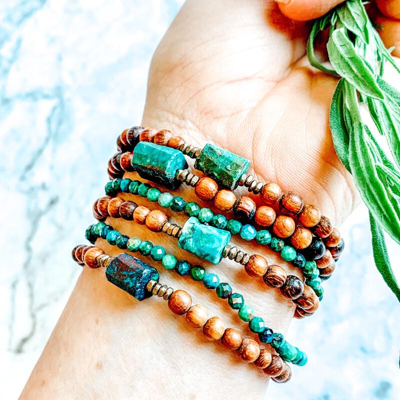 Chrysocolla + Bayong wood Healing Crystal Bracelet