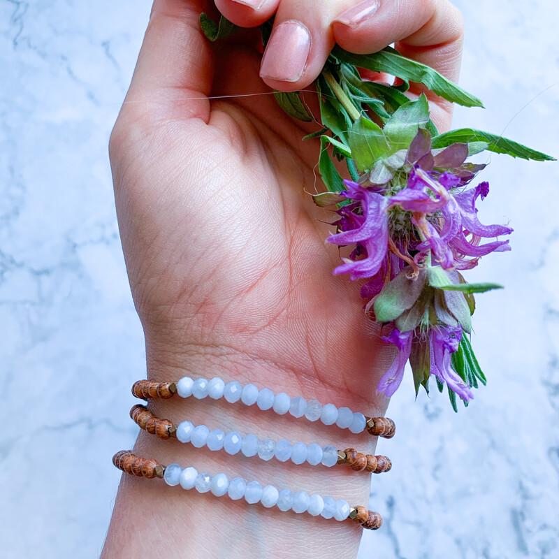 Blue Lace Agate + Bayong Wood Healing Stone Bracelet